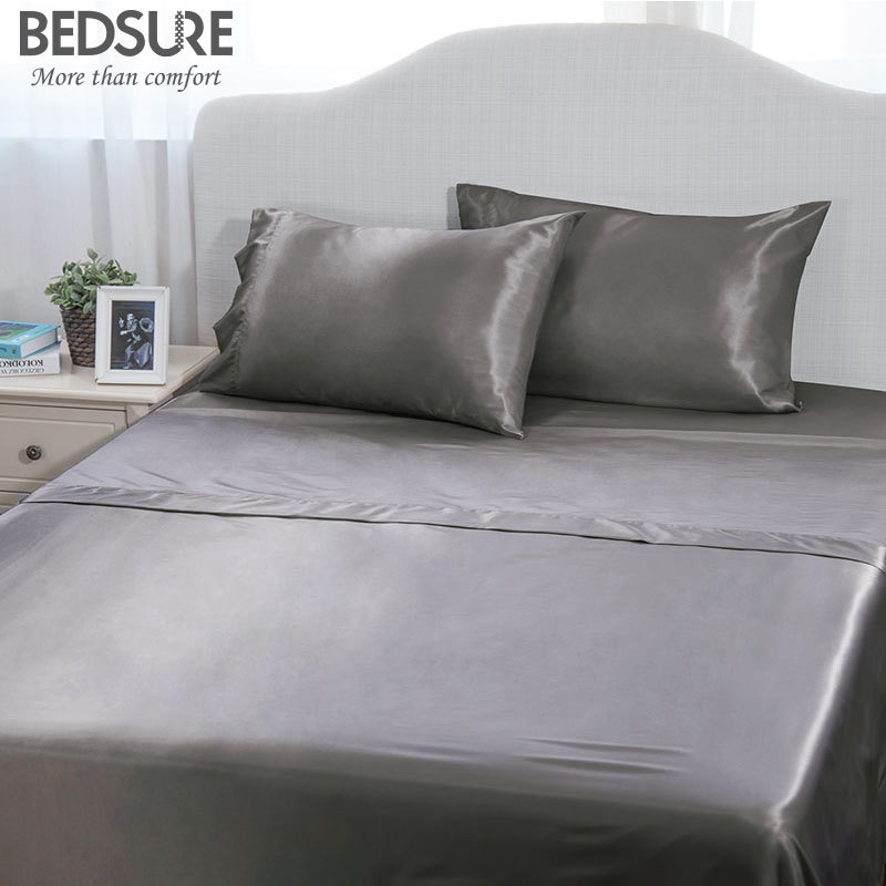 Bedsure Satin Solid Sheet Set Bedspread Bedsheet