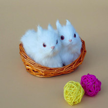 ZILIN Cute Easter Bunny/ Simulated fluffy Easter Rabbit with basket  11*7*7cm