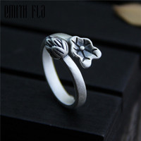 Genuine 925 Sterling Silver Female Vintage Open Rings Lotus Leaf Design Fashion Jewelry For Women Opening