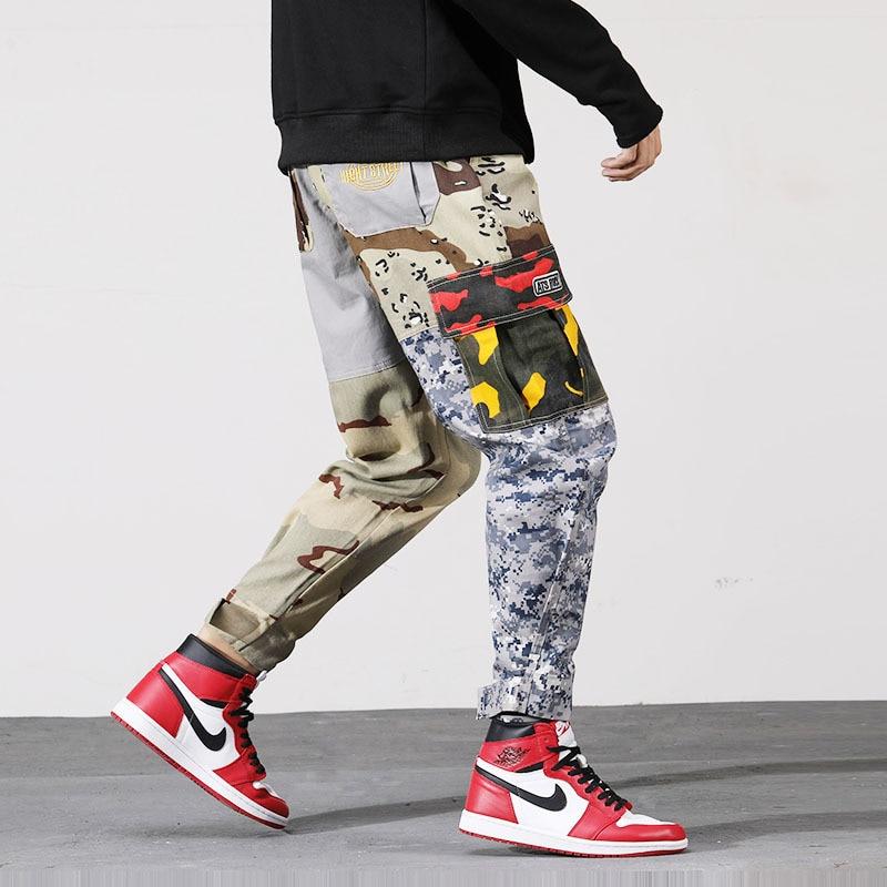 Mann Jogger Camouflage Seite Taschen Lose Stil Männer Jogginghose Mode 2019 High Street Casual Hosen Cargo Hosen Männer Hosen Cargo-hosen