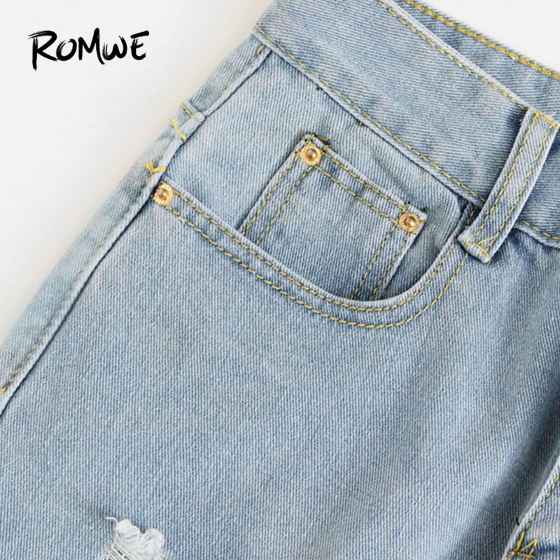 ROMWE Letter Print Ripped Jeans 2018 New Fashion Spring Button Fly Mid Waist Women Trousers Blue Pocket Casual Jeans