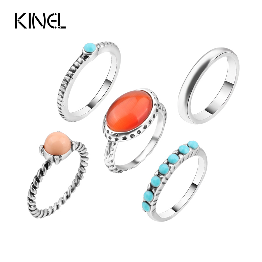 Fashion Vintage Red Midi Ring Set Tibetan Antique Silver Color Crystal Rings For Women 5pcs/Set Boho Jewelry