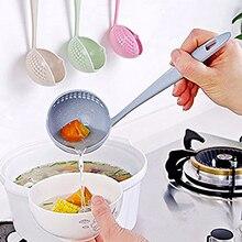 FOOD GRADE 2 in 1 – Long Handle Soup Spoon Porridge Spoons ladle Colander with Filter Flatware cooking – Kitchen Accessories