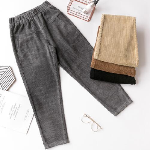 Spring Autumn Women High Waist Corduroy Pants Loose Slacks Trousers Pockets Female Harem Pants Khaki,Gray,Black,Apricot