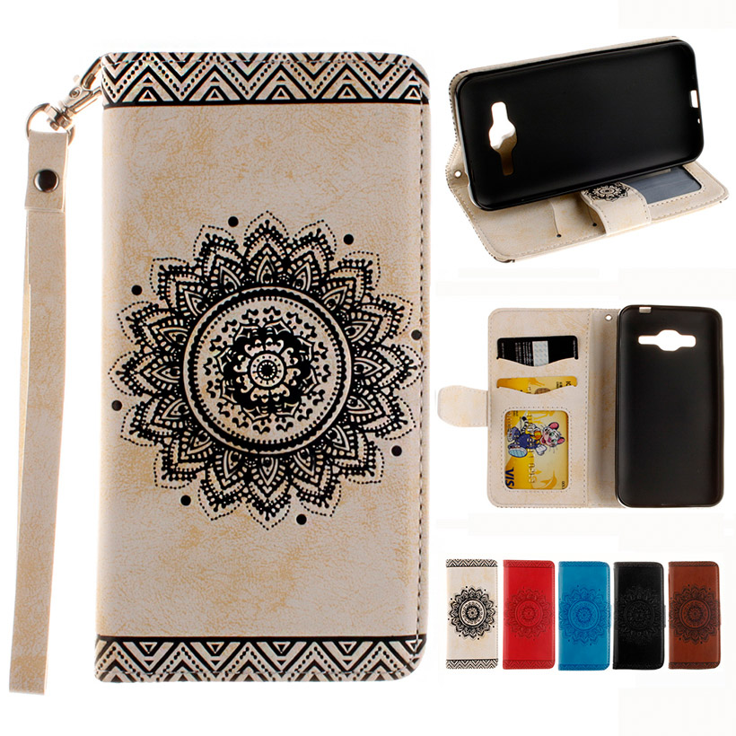 White Leather Phone Case for Samsung Galaxy J3 2016 J300 J310 J310F J310H J310M SM-J320 J300F J3000 Cover Mandala Wallet Holster