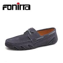 FONIRRA 2018 Suede Lace Up Loafers Men Casual Shoes Slip On Plus Size 38-46 Massage Shoes Men Spring Autumn Gray Shoes Men 881