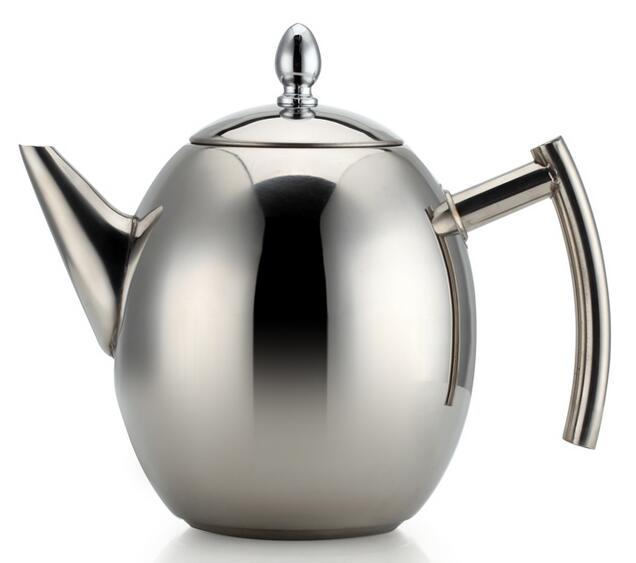 1.5L Stainless Steel Teapot Kitchen Tea Kettle Olive-Shape Coffee Pot With Filter Net 1pc teapot pot shape stainless steel leaf tea infuser filter strainer ball spoon strainer infuser tea spoon shaped teapot