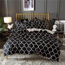 Nordic Black Grid Comforter Bedding Sets King Duvet Cover Set Home Textiles Soft Queen Bed Set цена