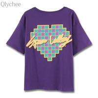 Qlychee Harajuku Letter Japanese Print T Shirt Short Sleeve Round Neck Basic Tops Women Summer Casual