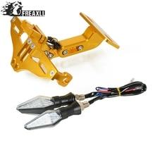 Motorcycle License Plate Bracket Holder With LED Light Universal For Benelli plate Holder BN300 BN302 BN600 BN TNT 300 600 GROM