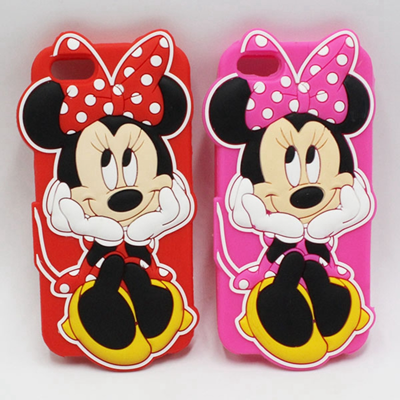 Soft Silicon Cute Cartoon 3D Red Pink Minnie Mouse Case For Iphone 5S 6 6S 7 8 Plus 6Plus 6sPlus 7Plus 8Plus Mobile Phone Cover