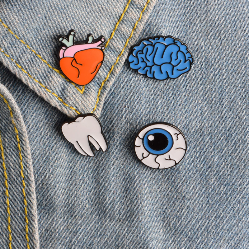 DIEZI Cartoon Cute Organ Brain Eye Tooth Metal Brooch Pins Button Pins Brooch Denim Jacket Pin Badge Funny Gift Fashion Jewelry