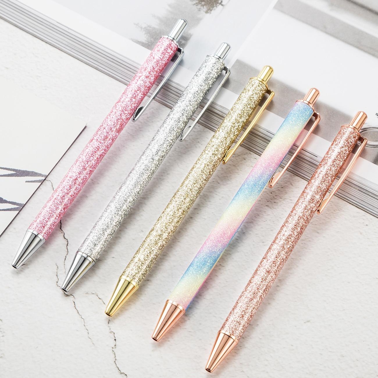 1pcs Kawaii Ball Pens Glitter Metal Ballpen Ballpoint Pens Student Pens For School Stationery Office Supplies 1.0mm