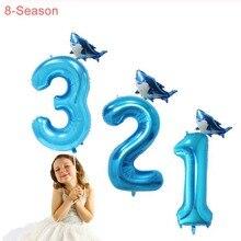 8-Season 2pcs 40inch Baby Shark Birthday Party Balloons  1st Theme Sea Animals Sharknado