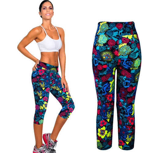 New Womens High Waist Fitness Yoga Sport Pants Printed Stretch Cropped Trouser Pants Quick-Drying Running Womens Sports Leggings