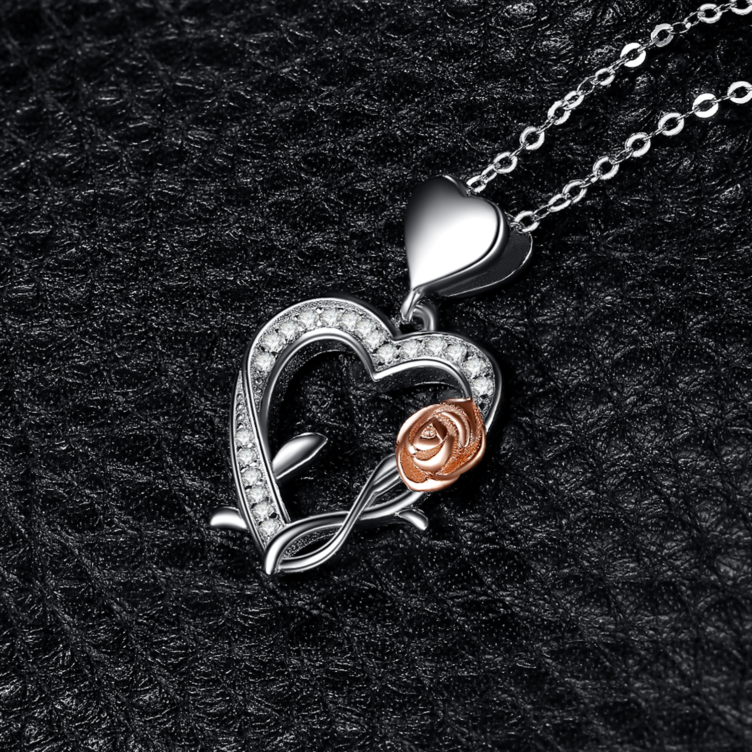 Image 3 - JPalace Heart Rose Silver Pendant Necklace 925 Sterling Silver  Choker Statement Necklace Women Silver 925 Jewelry Without ChainPendant  Necklaces