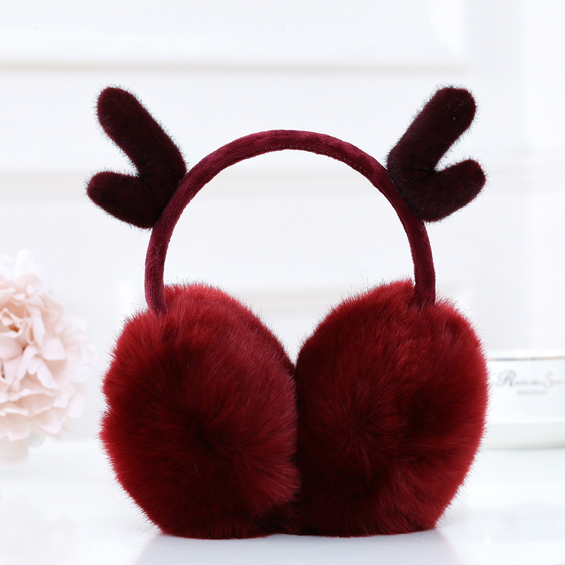 Lovely Reindeer Fur Winter Earmuffs Ear Christmas Warmers Winter Comfort Earmuffs Warm Winter Earmuffs For Women Girls