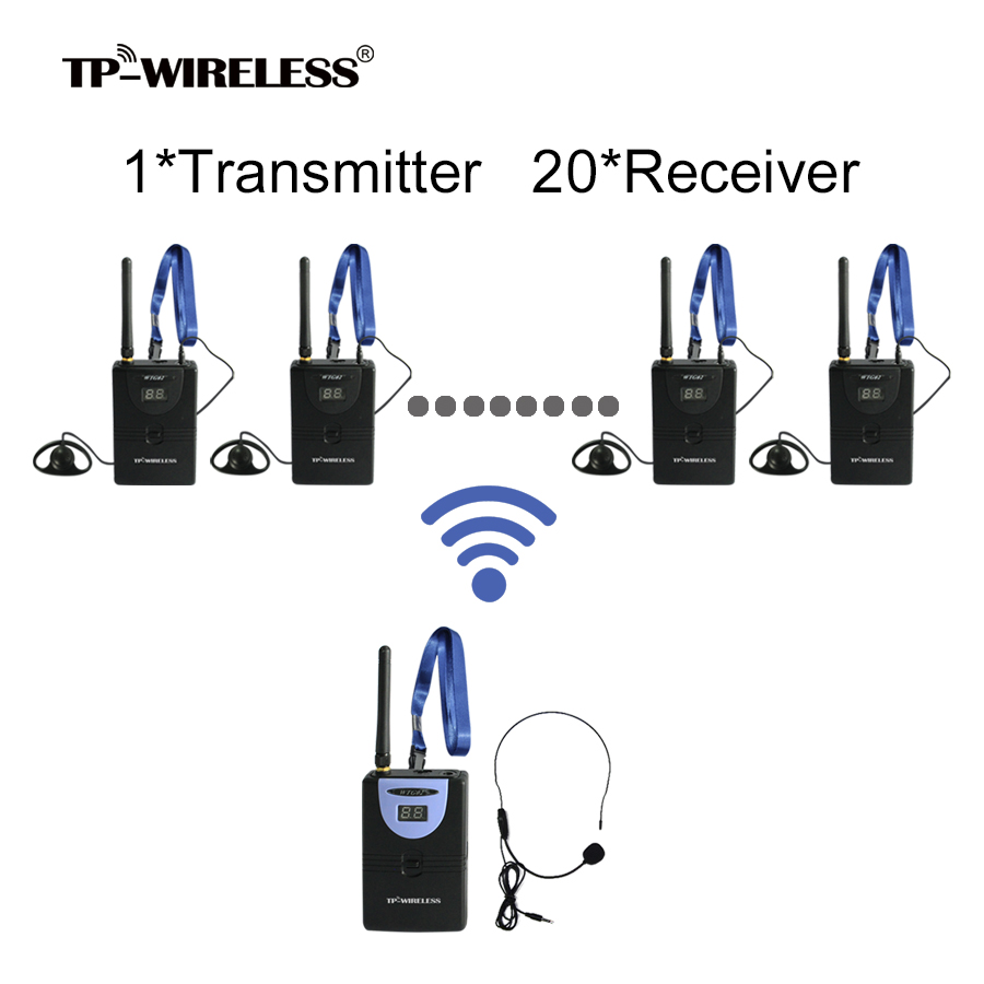 TP-WIRELESS Tour Guide System 2.4Ghz Wireless Simultaneous Translation System 1 transmitter 20 receiver +1 Micophone+20 earphone anders wireless tour guide system 1 transmitter 2 receiver for tour guiding simultaneous translation interpretation system f4506