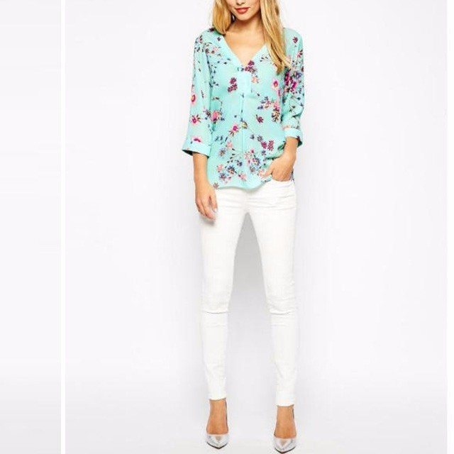 New 2017 V-neck Spring Casual Chiffon Blouse