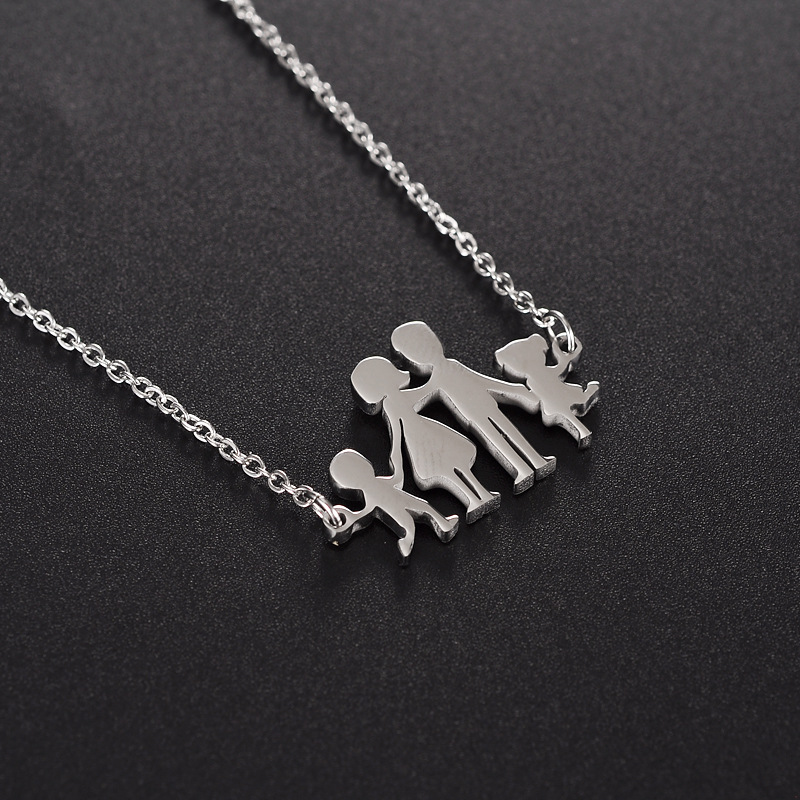 Polished Stainless Steel Loving Family Parents with 2 s