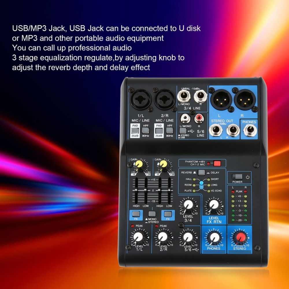 Мощность диджейский аудио-микшер ЕС Plug 4 канала Professional мощность смешивания усилители домашние USB слот 16DSP + 48 В Phantom Для микрофоны