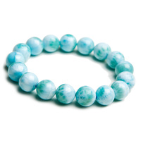 12mm Natural Larimar Blue Beads Bracelet From Dominica Gemstone Healing Stretch Water Pattern AAAAAA