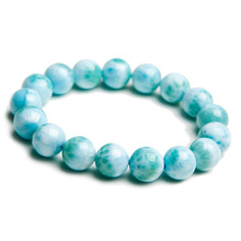 Braccialetto di perle rotonde blu Larimar naturale da 12mm Dominica Gemstone Healing Stretch Water Pattern certificato AAAAAA