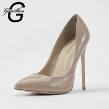 GENSHUO Women Pumps Nude Pointed Toe High Heel Shoes Stiletto High Heels Ladies Spring Autumn Steel Heel 12 10 8 cm Big Size