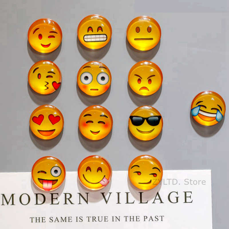 1PCS Smile Emoji fridge magnet Face Expressions refrigerator magnets 30MM Cute Cartoon glass Cabochon Stickers Home decoration