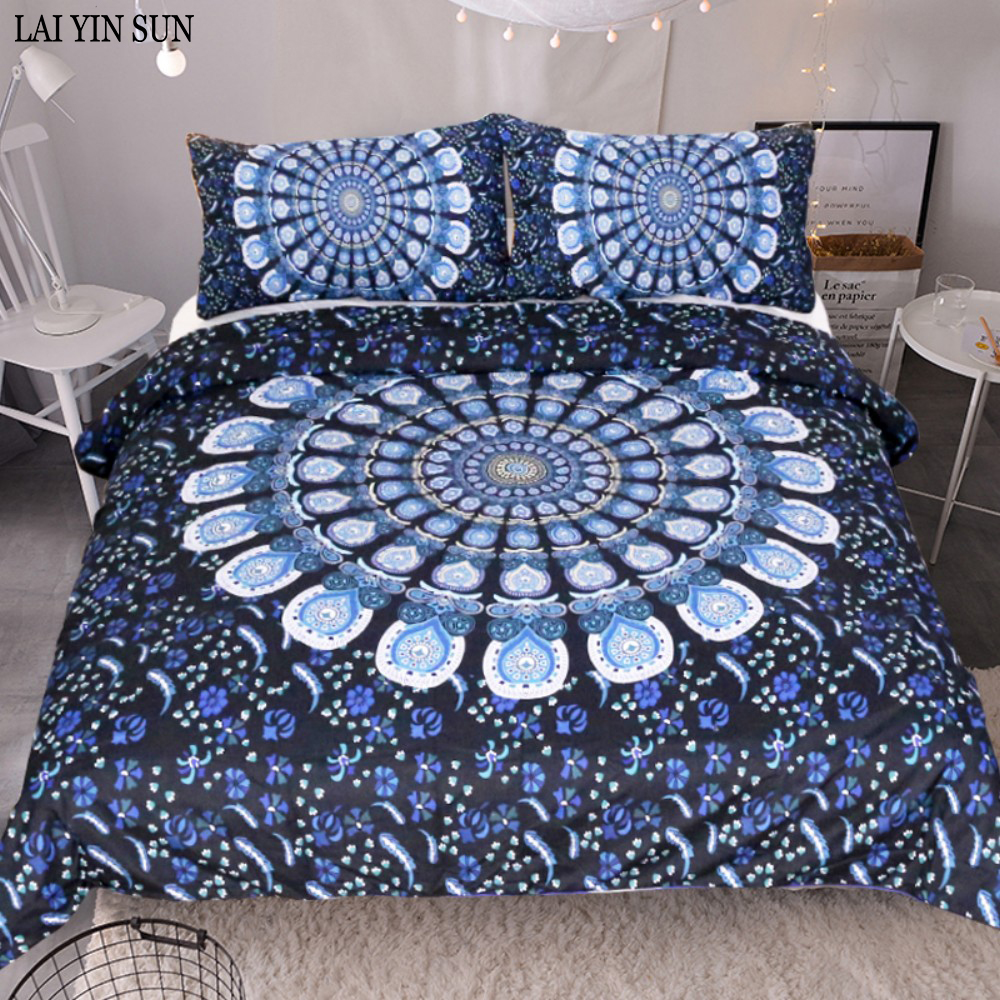 Lai Yin Sun Blue Peacock feathers Bedding Set King Size Print Bohemian Bedclothes 3D Duvet Cover 3PCS Dropshipping