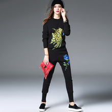 2017 Women s Spring Autumn Knitted 2 Pieces Set Sweater Long Trousers Animal Peacock Embroidery Strectched