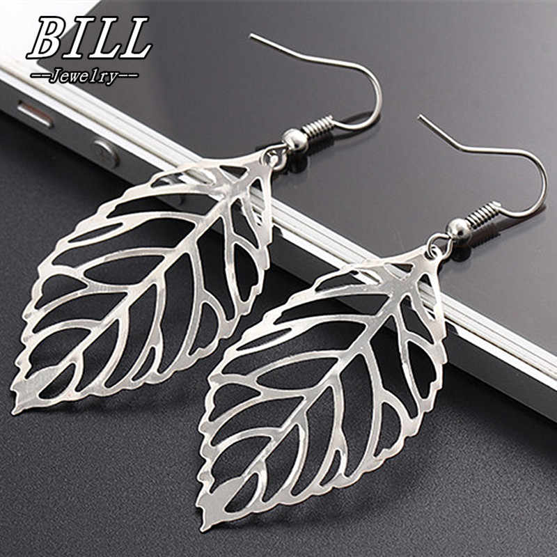 ES046 2018 Pendientes Mujer Fashion Jewelry Hollow Leaves Dangling Long Statement Drop Earrings For Women Big Leaf Brincos HOT