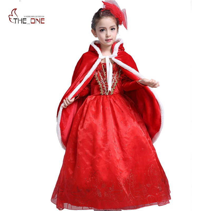 MUABABY Children Girls Christmas Red Party Princess Dress Puff Sleeve Holiday Perform Cosplay Costume Gold Velvet Hooded Cloak christmas faux fur fitted velvet short party dress with hat