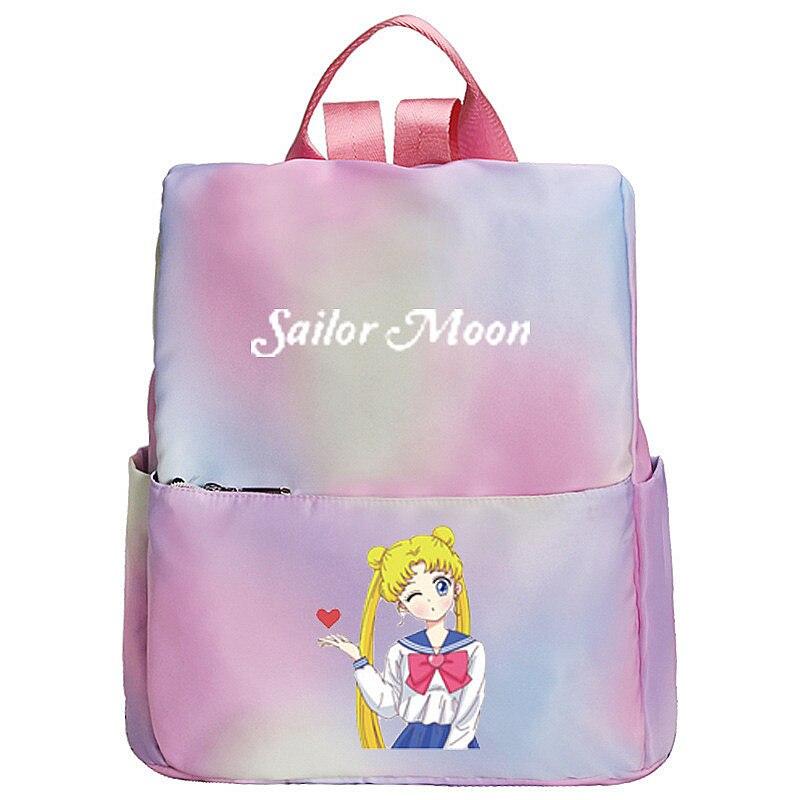 Sailor Moon Women Cute Pink Backpack Anti Theft Backpack Luna Cat Gradient Color Kawaii Bagpack Waterproof Travel Backpack