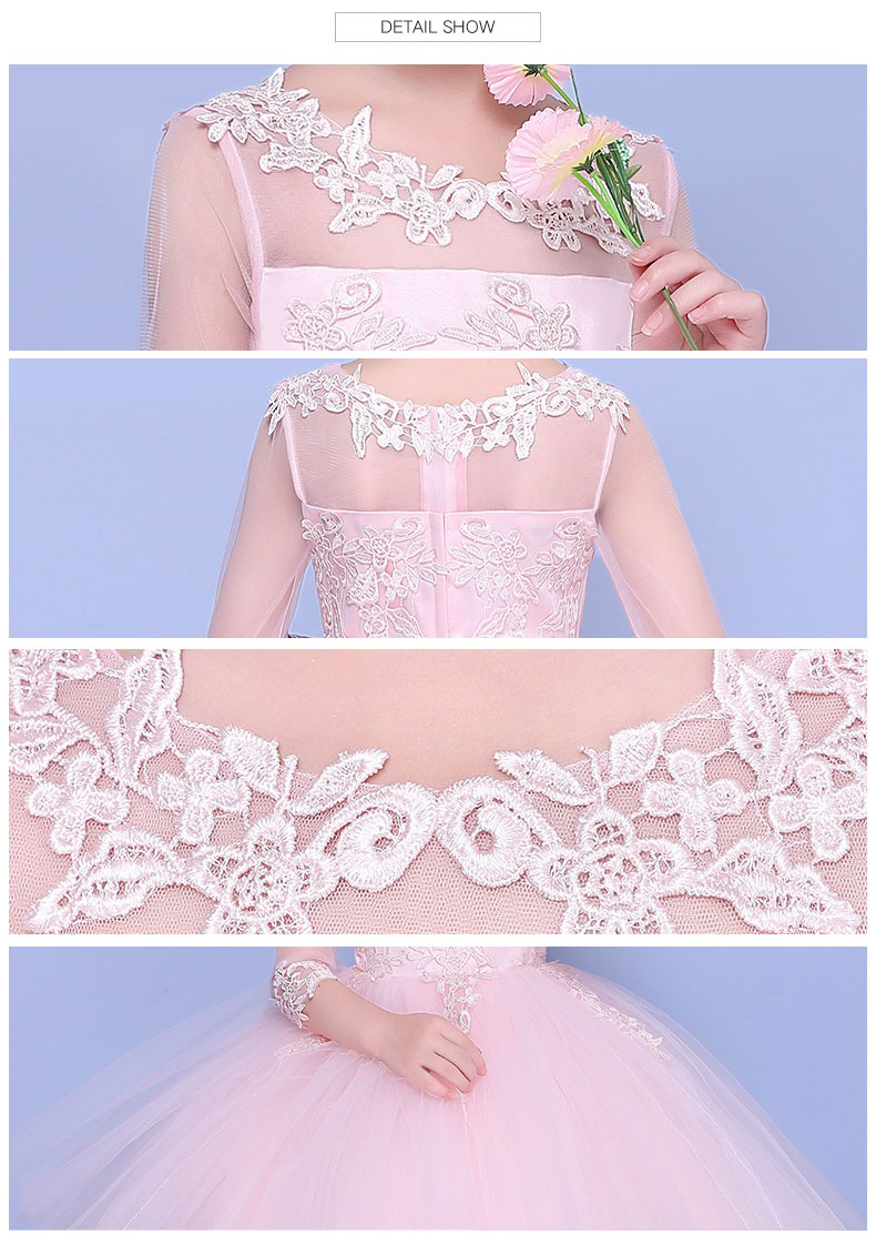 5b48339f67 KICCOLY 2018 Girls Dress Perspective lace Children Wedding Party Dresses  Kids Evening Ball Gowns Formal Baby. sku  32884757206