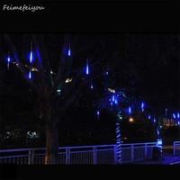 10pcs/lot 80cm Outdoor Landscape Lighting Hollow LED Meteor Shower Snowfall Rain Tube Lights Garden Wedding Decoration Garlands