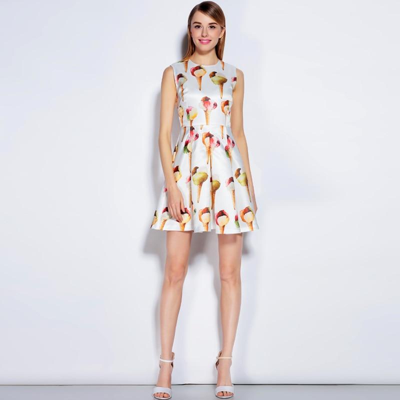 Haute D'été Robe De Piste Designer Marque 2017 Qualité Glace Printemps Réservoir Femmes Imprimer Mini Sans Date Manches B456Ywq5