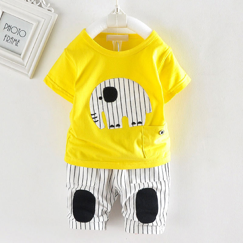 Summer infant baby boy clothes set tracksuit for toddler boy baby casual sports animal elephant bebes baby suit clothing sets
