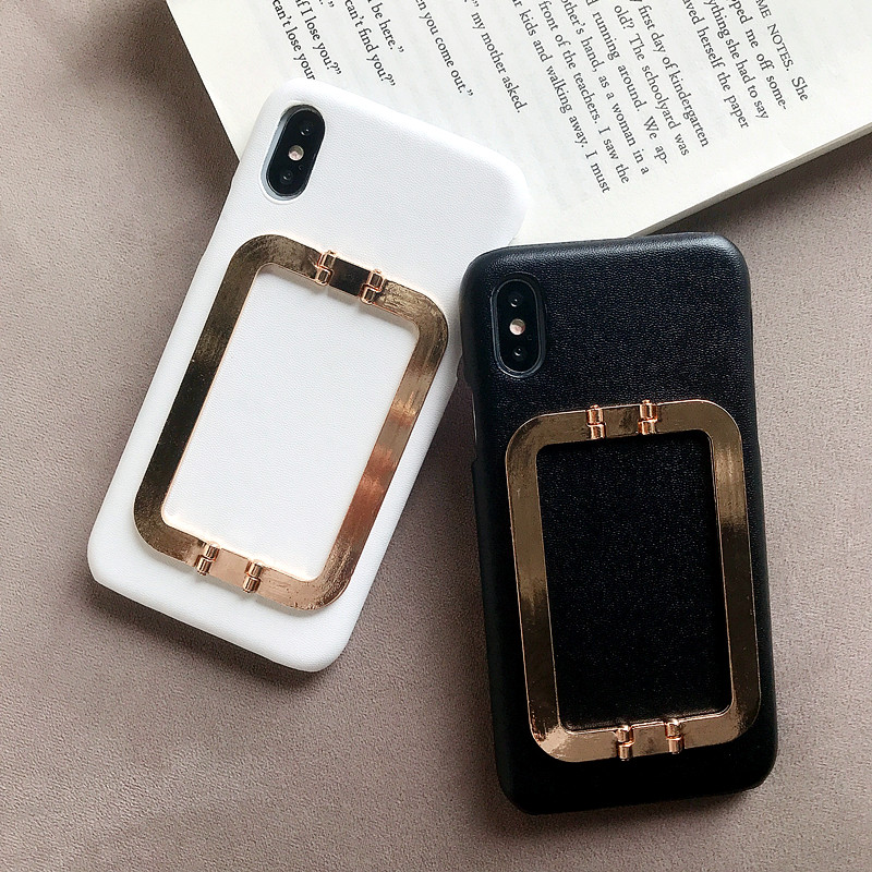 IMIDO Solid Color Square Stand <font><b>Holder</b></font> Phone <font><b>Case</b></font> for <font><b>Iphone</b></font> X XS XR XS Max 6 6S <font><b>7</b></font> 8 <font><b>Plus</b></font> Tempered Glass Cover <font><b>with</b></font> <font><b>Ring</b></font> <font><b>Holder</b></font> image
