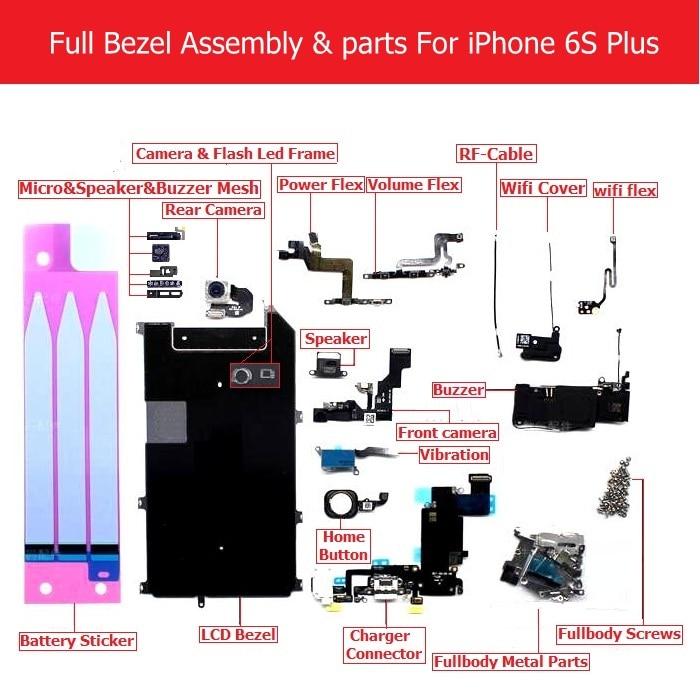Full Set Bezel Assembly parts For iPhone 6s plus Charger usb /LCD Bezel/camera/speaker/ Screw/Buzzer/Mesh/home volume Power flexFull Set Bezel Assembly parts For iPhone 6s plus Charger usb /LCD Bezel/camera/speaker/ Screw/Buzzer/Mesh/home volume Power flex