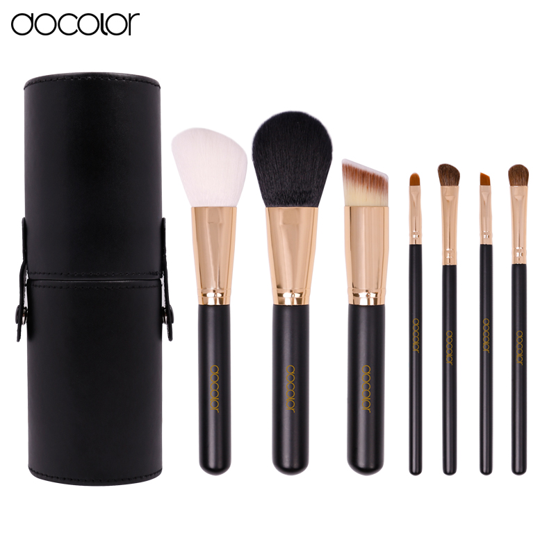 Docolor 7 Makeup Brushes set Synthetic Hair Powder Foundation Eyeshadow Lip Eyebrow Brush Tool Black and Gold docolor 10pcs makeup brushes set synthetic hair foundation eyeshadow cosmetic brush professional lip powder make up brush