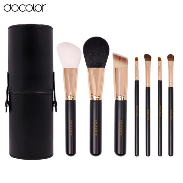 Docolor 7 Pinceles de Maquillaje Herramienta Pincel Polvos Sombra de Ojos del Labio de la Ceja Del Pelo Sintético Negro y Oro