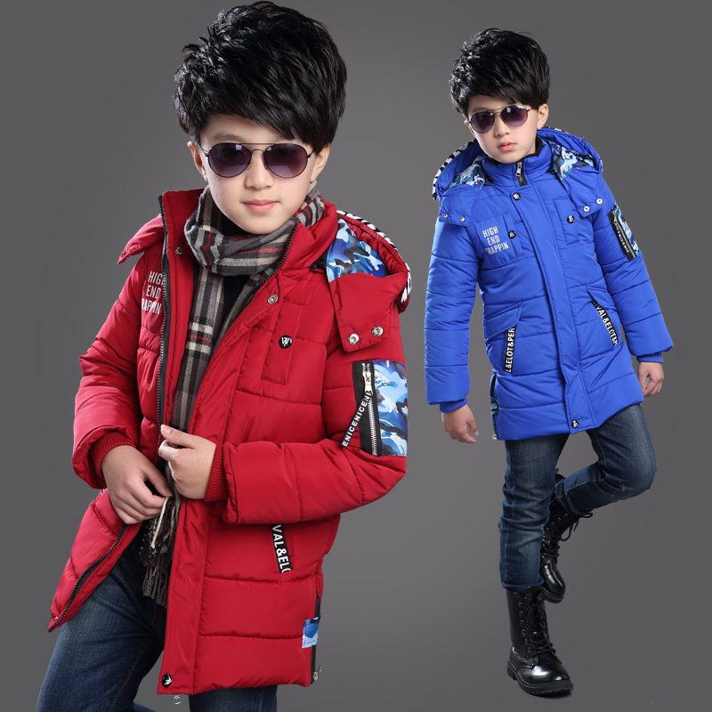 4-10Y children clothing boys down jacket cotton padded long section winter jacket hooded thicken warm kids boy outerwear coat children winter coats jacket baby boys warm outerwear thickening outdoors kids snow proof coat parkas cotton padded clothes