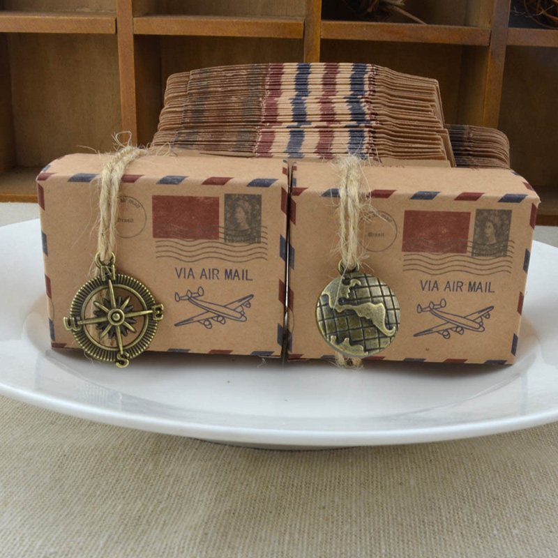50pcs/lot Vintage Kraft Paper Candy Box Airplane Air Mail Travel Theme Wedding Favors Gifts Boxes with Burlap Twine Party Decor image