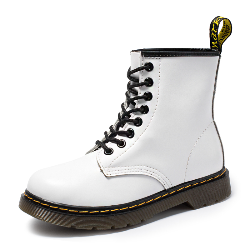 2019 New Brand Leather Ankle Boots Autumn Winter Women Men's Boots White Motorcycle Boots Outdoor Working Snow Boots Men Shoes