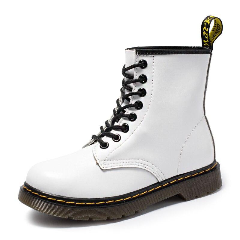 2019 nouvelle marque en cuir bottines automne hiver femmes hommes bottes de moto blanche bottes de travail en plein air bottes de neige hommes chaussures