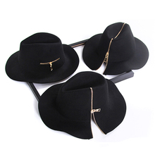 Womens black zipper style 100% Pure Cashmere Wool Fedoras So
