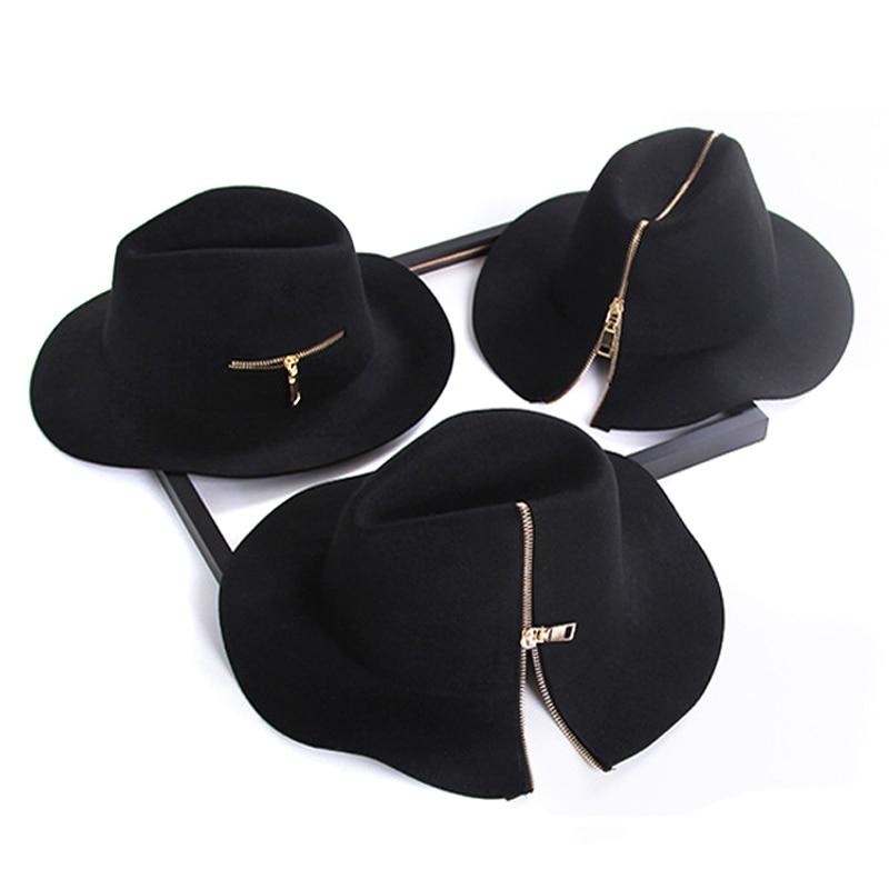 Womens black zipper style 100% Pure Cashmere Wool <font><b>Fedoras</b></font> Solid Hats ladies Vintage winter warm wooly Felt Floppy Hat <font><b>for</b></font> men
