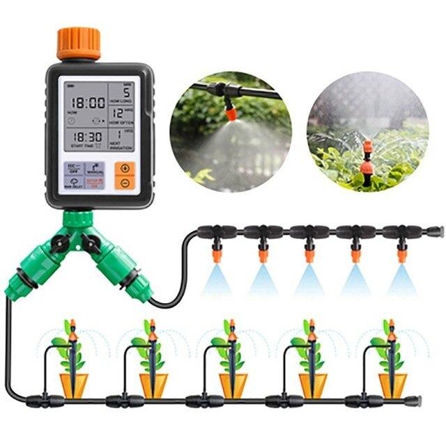 자동 식물 물방울 관개 시스템 전자식 타이머 LCD 스크린 스프링클러 컨트롤러 정원 지능형 급수 장치