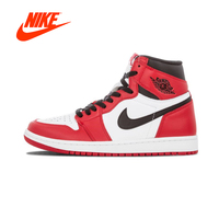 Authentic Red White Nike Air Jordan 1 Retro High top OG Chicago Breathable Men's Basketball Shoes Men Sports Sneakers